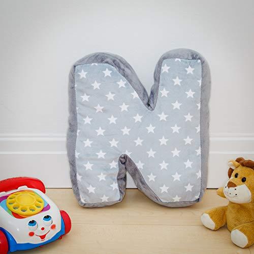 Coussin Alphabet N - Lettre N - Gris Initiale Cadeau Chambre d'Enfant