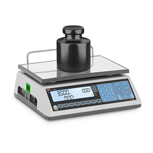 TEM TEM030D-B1 Preisrechenwaage geeicht 15 kg/5 g 30 kg/10 g LCD Display Akku 100 h Wiegefläche 23 x 30 cm