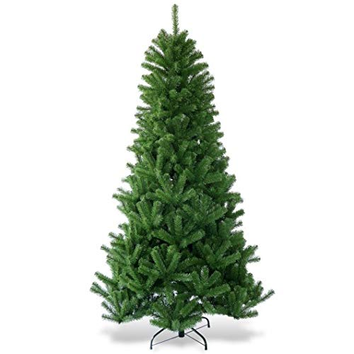 Homeura 7ft Christmas Tree Encryption Premium PVC Artificial Christmas Trees with Metal Stand, Premium Spruce Artificial Holiday Christmas Trees for Home - Green