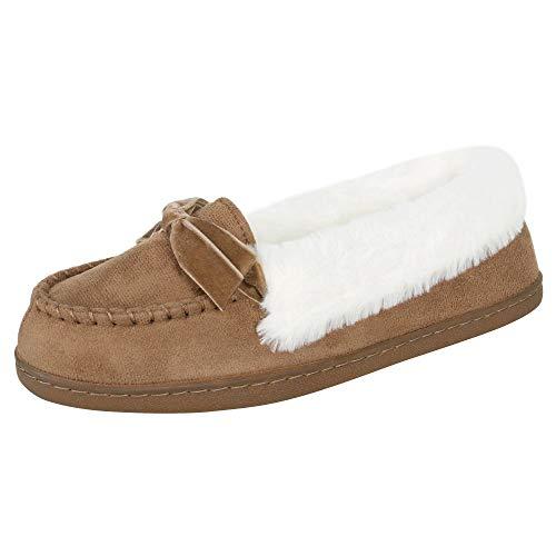 Jessica Simpson Womens Micro Suede Moccasin Indoor Outdoor Slipper Shoe,Cinnamon,Large