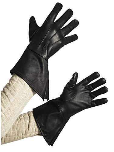 Andracor Robuste Stulpenhandschuhe aus echtem Leder für Verschiedene LARP-Charaktere - individuell einsetzbar für Mittelalter, Fantasy, Cosplay & Freizeit - Farbe: schwarz - Größe: S