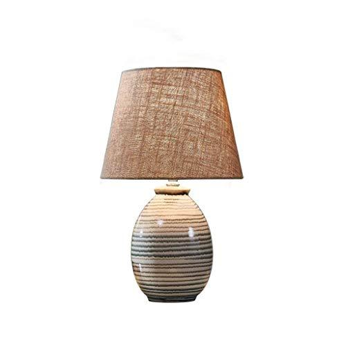 Lámpara de mesa Luz Lámparas de escritorio Luces Moderno Minimalista Cerámica Regulable Lámpara de mesa Tela de lino Botón de la cubierta Lámpara de la sala de bodas Sala de estar Dormitorio Mesita de