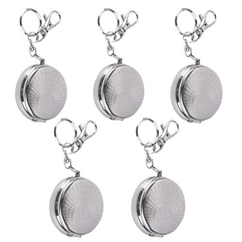 5pcs Anaschenbecher,Tragbare Taschenascher Edelstahl Mini Aschenbecher,rund tragbarer Mini Taschenaschenbecher Schlüsselanhänger