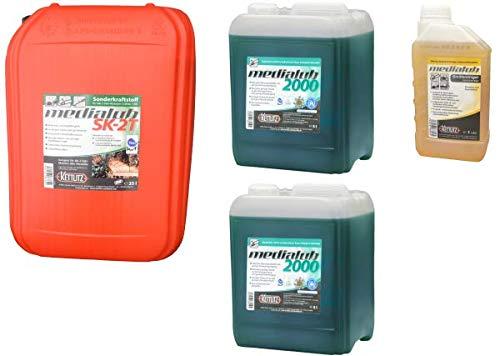 KETTLITZ-Medialub Forst to GO XXL, 25 Liter Medialub SK-2T Sonderkraftstoff Alkylatbenzin 2 Takt, 2 x 5 Liter Medialub 2000 Bio Kettenöl-Sägekettenöl +1 L Gerätereiniger/Forst- Agrar Reiniger