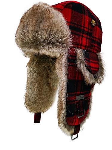 FUR WINTER Wool Blend Buffalo Check Faux Fur Aviator Outdoor Trapper Trooper Pilot Ski Hat BLK/RED M/L