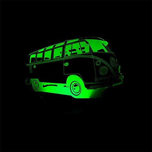 baby Q LED 3D Lampe, Lumières de Contact colorées d'autobus, Illusion de lumières acryliques tridimensionnelles, lumière d'alimentation d'USB
