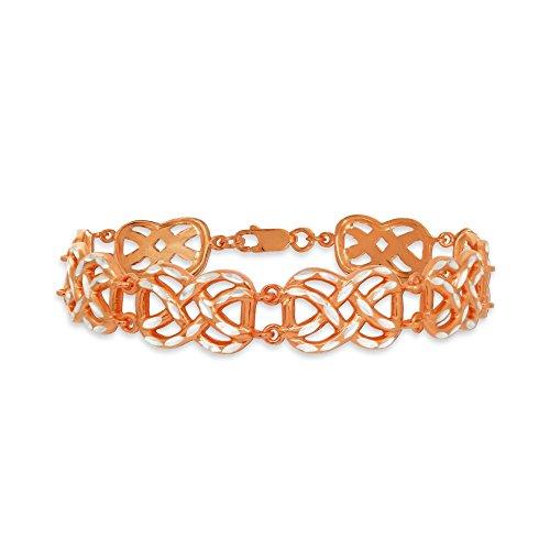 Two-Tone Rose Gold Flashed Sterling Silver Celtic Knot Diamond-Cut Link Bracelet