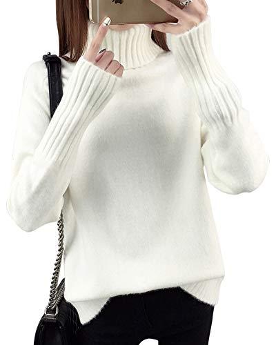 Yonglan Maglione Dolcevita Donna Sciolto Maniche Lunghe Maglieria Pullover Collo Alto Maglioni Bianco Taglia Unica