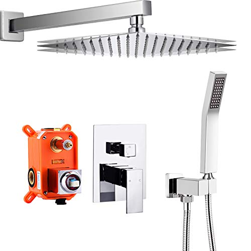 """Qomolangma 10"""" Wall Mounted Shower System with Pressure Balance Valve for Bathroom, Polished Chrome Rain Shower Head and Handheld Shower Faucet Rough-in Mixer Valve and Trim Included."""