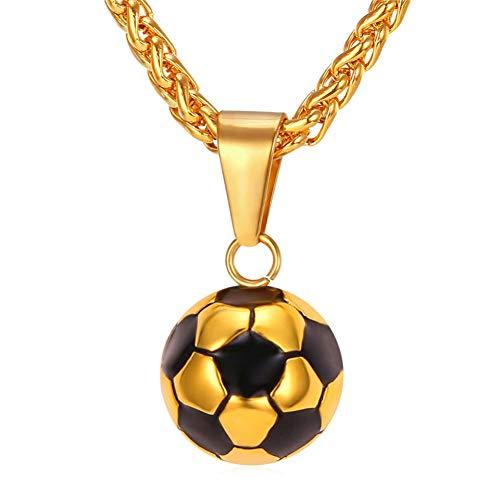 TIGOSM Collares de fútbol Hombres Joyas Color dorado Acero inoxidable Fitness Fútbol Deporte Colgante y cadena Padres Día Regalos para papá