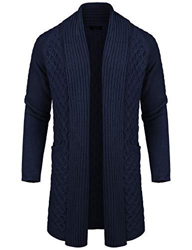 COOFANDY Chaqueta de punto para hombre, de moda, larga, con volantes, ligera, con cuello chal, Tipo de invierno: azul marino., Small