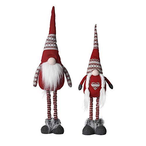 Valery Madelyn 2er Set 64/76cm Stoff Weihnachtsdeko Wichtelzwerge Dekofigur Wichtel Gnom Zwerge Figur Nordische Stimmung Gonk Weihnachtsfigur mit ausziehbare Beine Bart Knollnase und Zipfelmütze