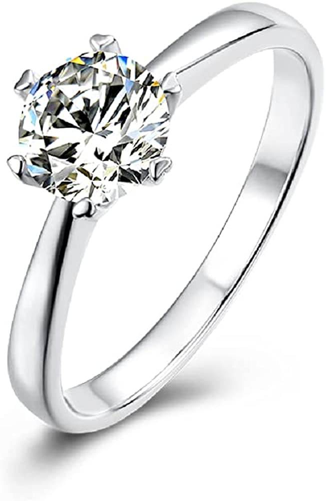 KRKC 1 carat Moissanite Diamond Engagement Ring,Round Cut Affordable Solitaire Classics Promise Sunflower Ring for Women Couples Her