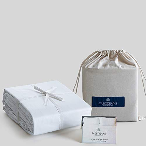 100% Organic Cotton King White Sheet Set | Percale Weave | 4 Piece | 300 Thread Count | GOTS Certified | Breathable Crisp Cool | Luxury Finish | Fits Upto 17' Deep Pocket Mattress | Sustainable