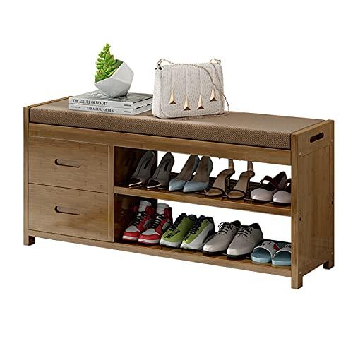 Guoyajf Banco De Zapatos, Zapatero De Bambú De 3 Niveles con 2 Cajones, Organizador De Almacenamiento De Zapatos con Asiento Acolchado Suave para Sala De Estar, Pasillo Y Entrada