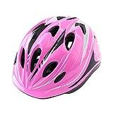 Casco de bicicleta, casco de bicicleta, casco de seguridad deportiva para niños, cinturón (protector de mano + protector de codo + protector de rodilla), adecuado para niños y adolescentes-Pink-M