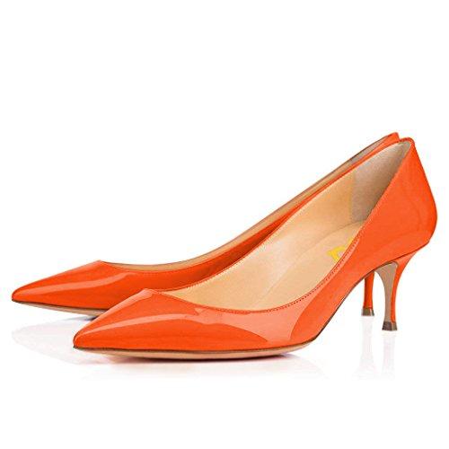 FSJ Women Classic Kitten Heels Pointy Toe Pumps Office Ladies Dress Shoes Size 8.5 Orange