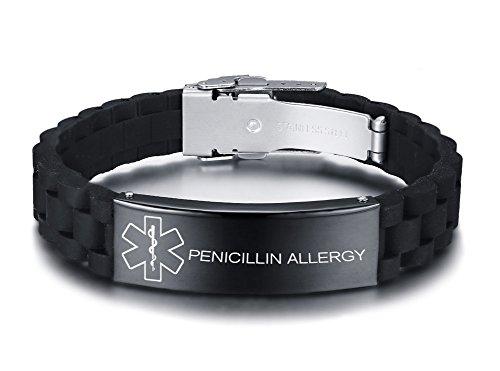 VNOX Personalizado Personalizar Grabado Acero Inoxidable Pulsera de Alerta Médica Pulsera Médica de Silicona Negra para Hombres Mujeres,18-22.5cm Ajustable.