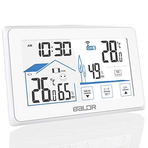 Konsen Wetterstation Funk mit Außensensor, digital Thermometer-Hygrometer für innen und außen, weiße Hintergrundbeleuchtung und Uhrzeit Anzeige, Weiß