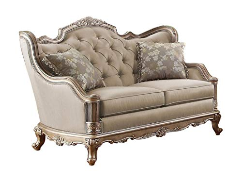 Fayanna Baroque Love Seat in Fabric - Twilight Taupe with Wood Trim