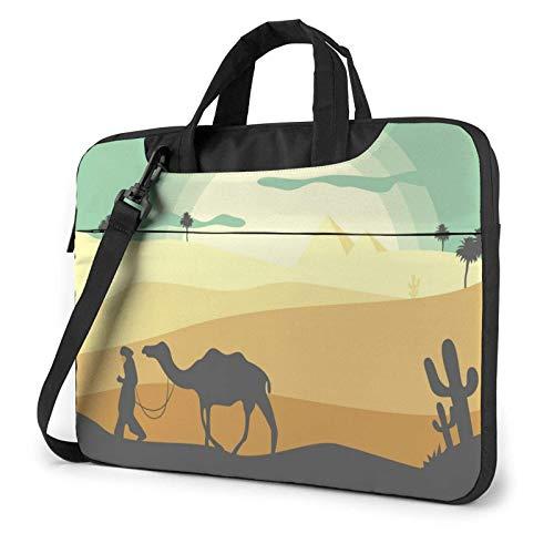 Bolsa para computadora portátil Desert Landscape Bolsa de Mensajero de Hombro para computadora portátil de 13 Pulgadas Funda de Transporte Impermeable para computadora portátil Maletín