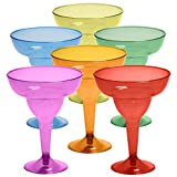 48 Plastic Margarita Glasses - 12 oz. | Hard Assorted Colors Plastic Cocktail Cups | Disposable Party Cups | Large...