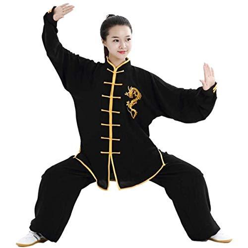 Ropa Unisex De Tai Chi Uniforme Tradicional Chino De Kung Fu Artes Marciales Trajes De Tai Chi Ejercicios De Tai Chi De Manga Larga Ropa De Entrenamiento De TaekwondoBlack-X Small