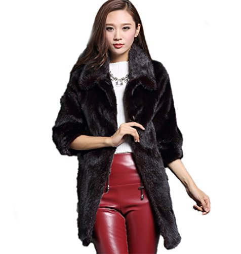 YR.Lover Fashion womens 100% Real Whole Skin Mink Fur Long Lush Coat&Jacket