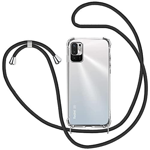 SAMCASE Funda con Cuerda para Xiaomi Redmi Note 10 5G/Poco M3 Pro 5G, Carcasa Transparente TPU Suave Silicona Case con Correa Colgante Ajustable Collar Correa de Cuello Cadena Cordón - Negro
