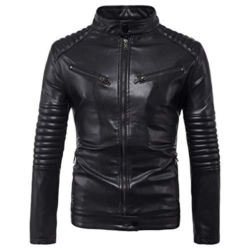 Dasongff Leren jack voor heren, biker, motorfiets, slim fit, kunstlederen jas met opstaande kraag, moderne stijlvolle outwear jas X-Large zwart