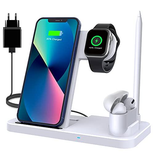 Wireless Charger, 4 in 1 Induktive ladestation mit 18W Fast Adapter für Apple Watch 7/6/SE/5/4, AirPods pro/2/1, Kabelloses Ladegerät Kompatibel mit iPhone 13/13 Pro/12/11 Pro/XS/XR/8/Samsung S20/S10