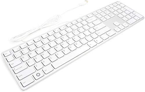 i-Rocks KR-6402 Wired Aluminum Ultra Slim Keyboard, Silent and Low Profile, Chicklet-Like Keys, Scissor-Structure Key Switches, Windows Office and Multimedia Keys, 2X USB Hub Ports – White