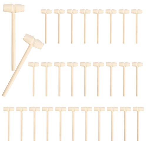 Surakey 30 Stück Mini Holz Hammer Mallet Stampfen Spielzeug,kleine Hämmer für Schokolade, Krabbe Hammer Mini Holzhammer für Krabbe Meeresfrüchte Hummer Werkzeug Schmuckherstellung Handwerk
