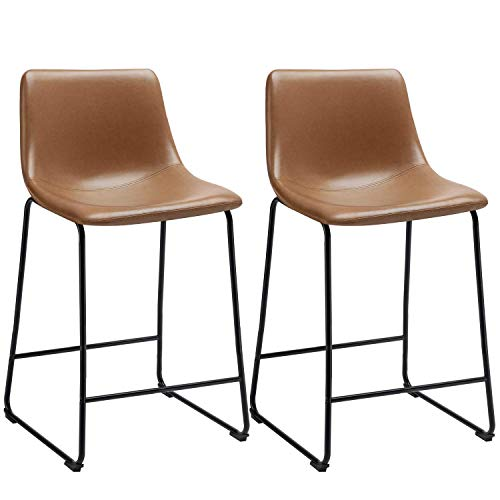 Waleaf 26 inch PU Faux Leather Counter Height Stools Armless with Back Black Metal Legs Upholstered Modern Bar Stool Pub Chairs for Dining Room Coffee House Rustic Bar, Set of 2 (Whisky)