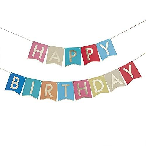 Miss Lovely Guirnalda de cumpleaños con texto 'Happy Birthday' en colores y dorados, para fiestas de cumpleaños, para adultos y niños, decoración de cumpleaños para mujeres y hombres.