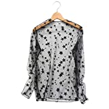YUIO 2017 Summer Fashionable Hollow Mesh Net T-Shirt manga larga cómoda encaje transparente blusa Tops camisa (estrella negra)
