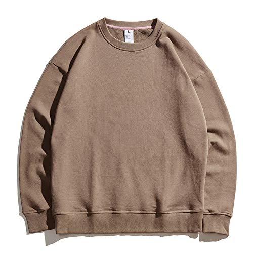 Mr.BaoLong&Miss.GO Otoño Nuevos Hombres Suéter De Color Sólido En Blanco Puro Algodón Cuello Redondo Hombro Suelto Suéter De Gran Tamaño para Hombres