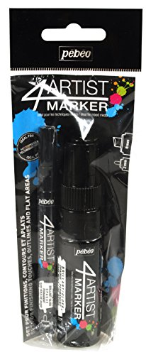Pebeo 4Artist Marker, Duo Set of Oil Paint Markers, 8 mm & 2 mm - Black