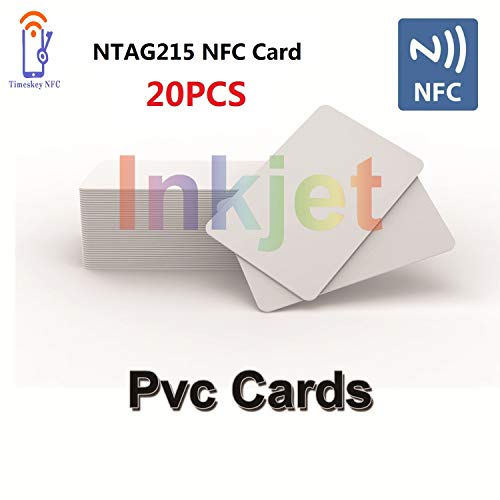 20 Inkjet PVC NFC Cards NTAG215 NFC Tags Printable Compatible with Epson and Canon Inkjet Printers, CR80 Blank Card, Waterproof Double Sided Printing, Compatible with Amiibo TagMo by TimesKey