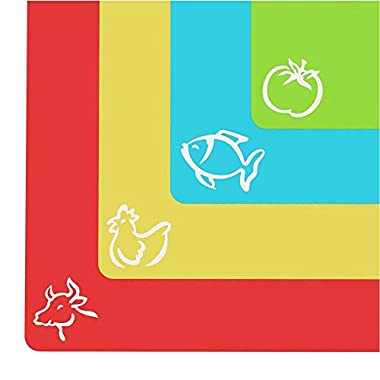 Extra Thick Flexible Plastic Cutting Board Mats With Food Icons & EZ-Grip  Waffle Back, 4 packs