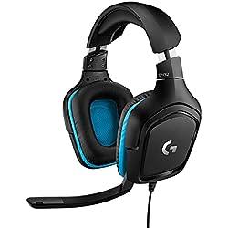 Logitech G432 Cuffie Gaming Cablate, Audio Surround 7.1, Cuffie DTS: x 2.0, Driver Audio 50 mm, ?Jack Audio USB 3.5 mm, Microfono Flip-to-Mute, Leggere, PC/Mac/Xbox One/PS4/Nintendo ?Switch, Nero/Blu