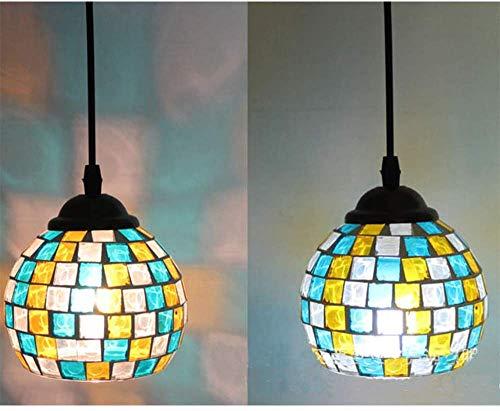 Moderne mozaïekhanglampen, handgemaakte kleurrijke glazen hanglamp voor eettafel, ronde E27 hanglamp kroonluchter voor eetkamer, slaapkamer en woonkamer, H