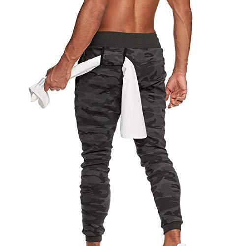 MUYOGRT Pantalones Deportivos para Hombre Cargo Pantalón Jogging Largos Pantalones Entrenamiento Fitness Pant Casuales Deporte Elásticos Slim Fit Cintura Elástica Ajustable(Camuflaje Gris,L)