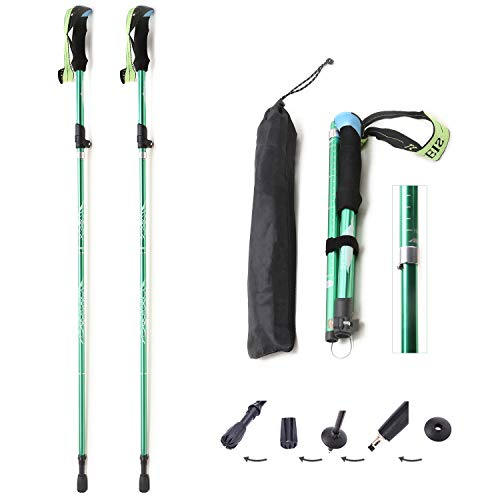 Generies Brands 2pc Sold Together Trekking Poles for Hiking Collapsible,Aviation Aluminum Alloy Elastic Lock Folding Telescopic for Adults Kids Men and Women (Green, Large)