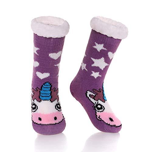 AOXION Kids Boys Girls Christmas Cute Animal Fuzzy Slipper Socks Children Soft Thick Warm Fleece Lined Non-Skid Winter Socks Purple Unicorn ,6-8 Year Old