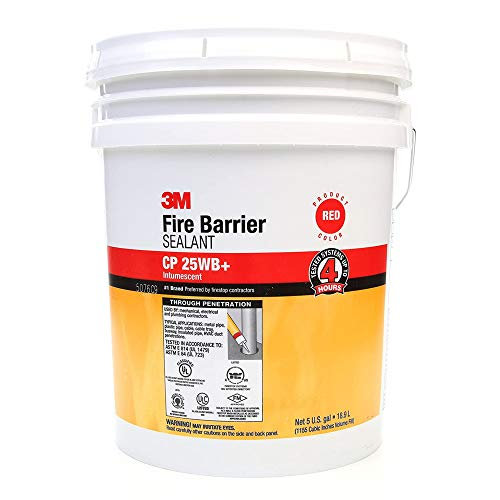 3M Fire Barrier Sealant CP 25WB+ - for Commercial, Industrial and Residential Applications - 5 Gallon Drum (Pail) - Red