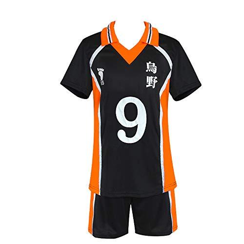 BellaPunk Herren Erwachsene Anime Haikyuu Cosplay Trikot Karasuno High School Volleyball Sportswear Kostüm (M, Karasuno 09)