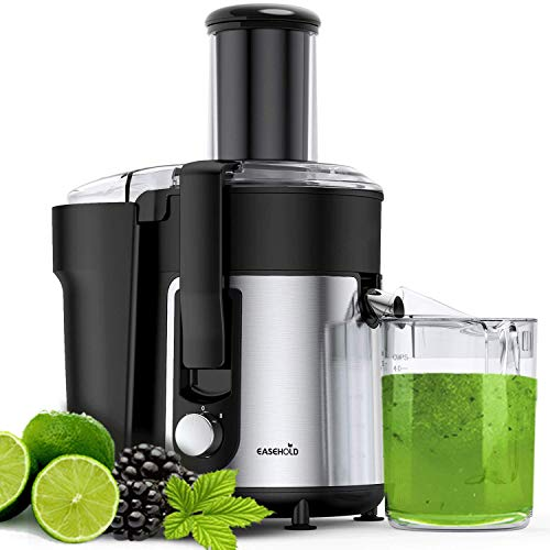 Easehold Juicer Machine, Big Mouth Extractor, Centrifugal Juicer Electric Anti-Drip, Easy to Clean, BPA-Free with Juice Jug and Pulp Container 800W(max 1000W) for Fruit Vegetable