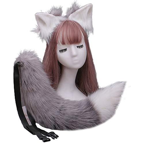 VVXXMO Diadema plegable con orejas de peluche y cola larga de lobo peludo, accesorios de disfraz de anime