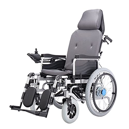 LHQ-HQ Silla De Ruedas Eléctrica Plegable Completa con Reposacabezas Ayuda De Movilidad Portátil para Personas Mayores Discapacitadas, Motor Dual De 250 W, Largo Alcance,Gris